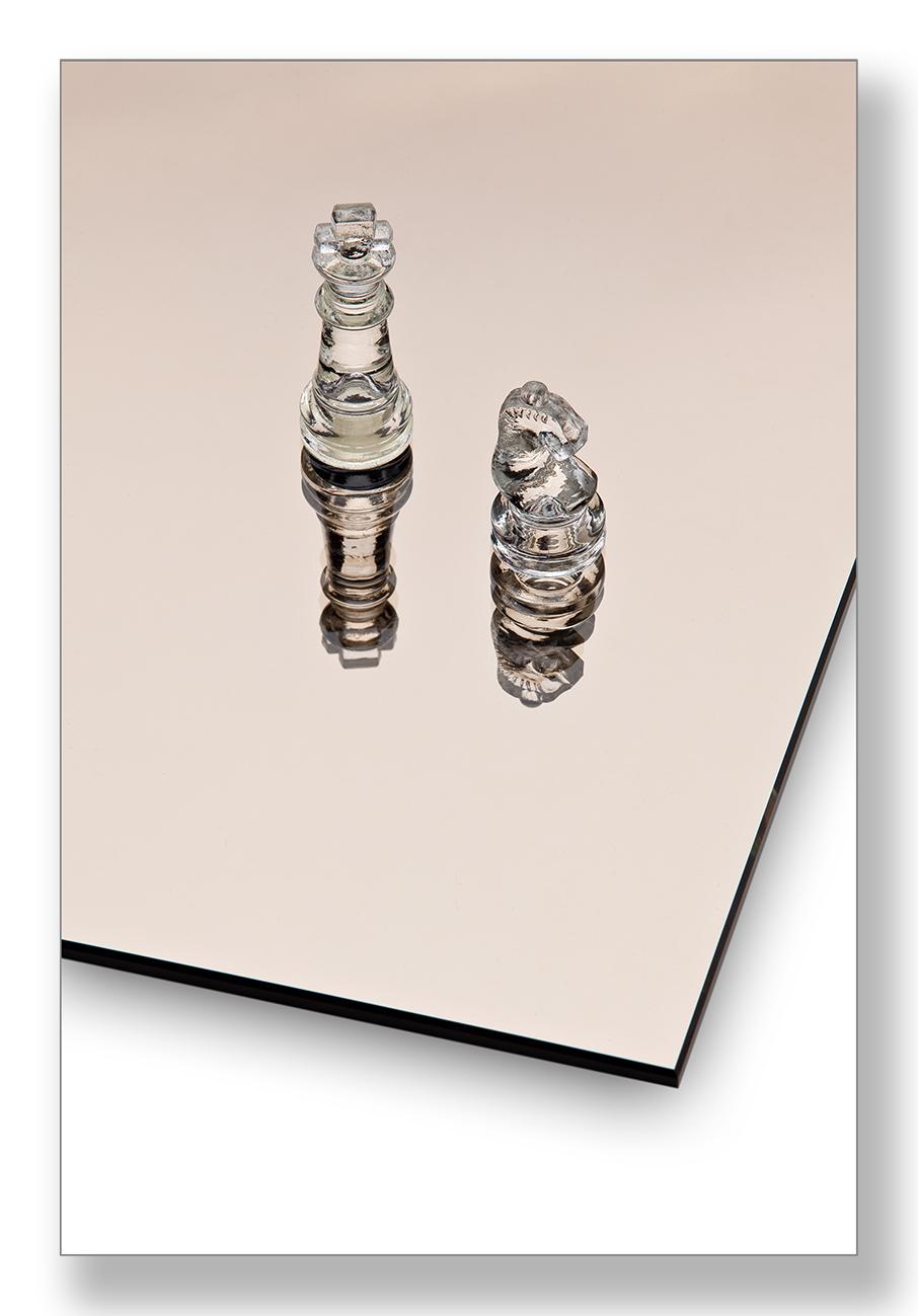 Spiegel op maat gekleurd (plat poly geslepen) brons